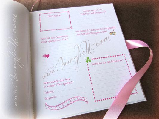 Hochzeitsgästebuch mit Gästefragen in Ihrem gewünschten Design.