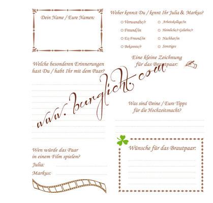 Individueller Fragebogen für ein Gästebuch zur Hochzeit