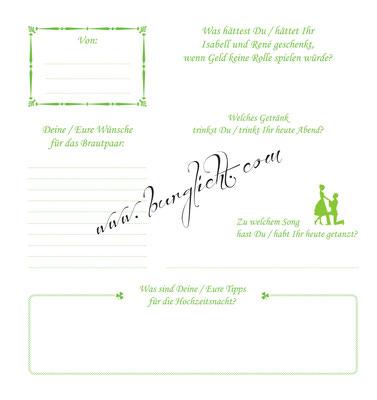 Foto-Gästebuch mit Gästefragebögen - jede Seite mit anderen Fragen und passenden Grafiken