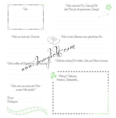 Gästebuch mit Gästefragen nach Kundenwunsch