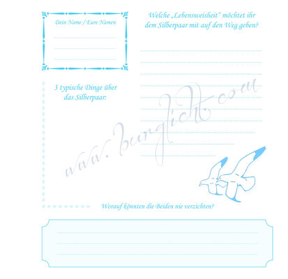 Individueller Fragebogen für ein Gästebuch zur Silberhochzeit