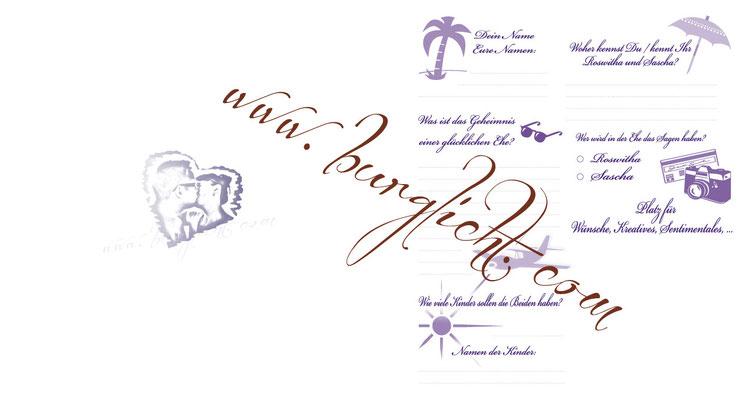 Fragebogen in deinem eigenen Stil - Fragen, Schriftart, Farben und Symbole nach Wunsch.