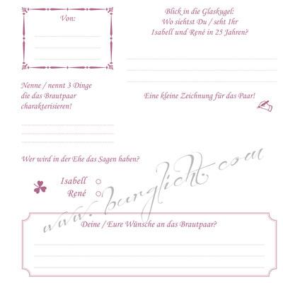 Gästebuch mit Fragebogen an Ihre Gäste - Jedes Detail nach Ihren Vorstellungen.