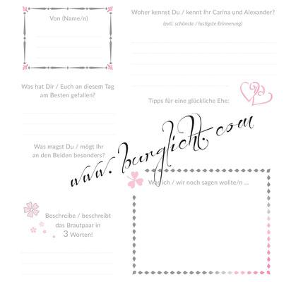 Fragebogen für Hochzeitsgästebuch in Ihren Hochzeitsfarben, mit Fragen die Sie schon immer mal stellen wollten, sowie mit kleinen Grafiken aller Art.