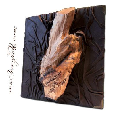 Fotoalbum mit Holzdekoration beschriftet