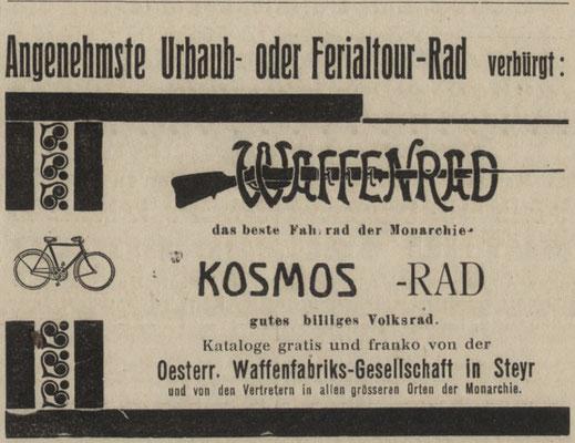 Quelle: Österr. Nationalbibliothek, Zollämter- und Finanzwach-Zeitung, 24. Juni 1914