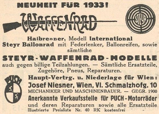 Quelle: Österr. Nationalbibliothek, Der Radfahrer, 28. Juli 1933