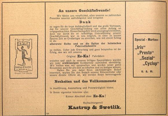Quelle: Österr. Nationalbibliothek, Österreichische Fahrrad- und Automobil-Zeitung, 25. August 1912