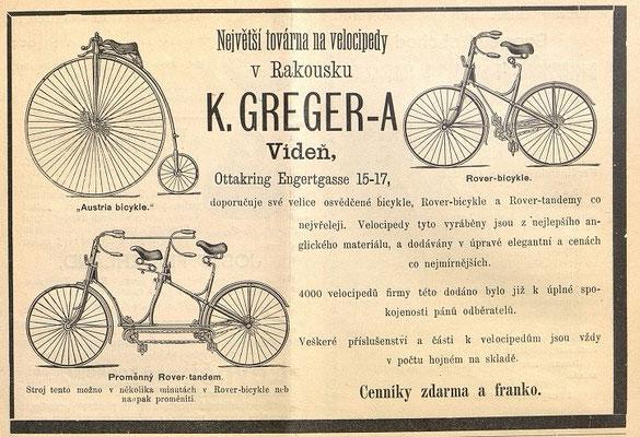 Quelle: Österreichische Nationalbibliothek, Velocipedista, Sa, 1. Juni 1889