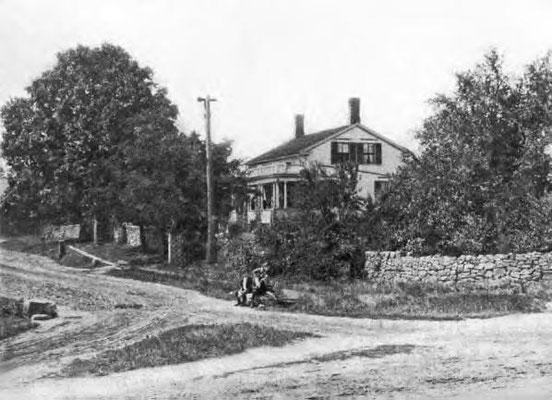 Ca. 1890 view of John Brown House & stone wall, Akron, Ohio