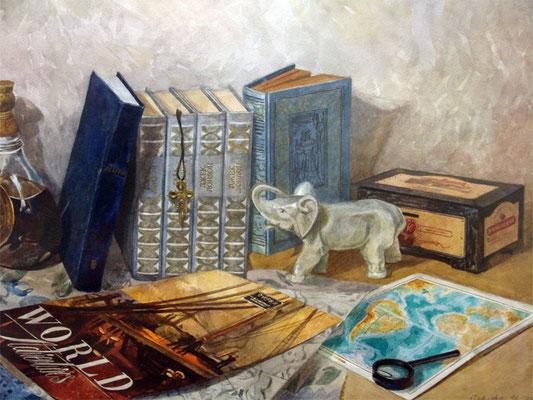 """Ирина Павлова """"Натюрморт с книгами"""" бумага, акварель 2010г."""