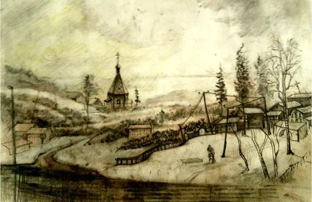 """Алексей Скотников """"Пейзаж с церковью"""" бумага, карандаш 2011г."""