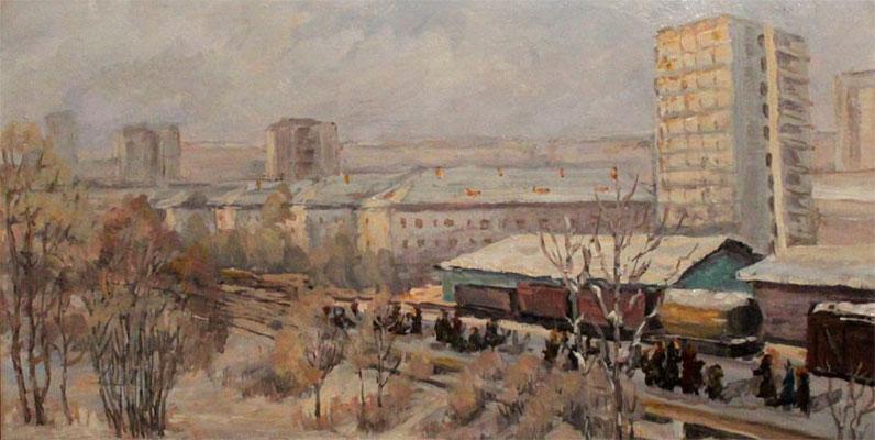 """Трубецкой В.Г. """"Станция Павшино"""" к,м 1978г."""