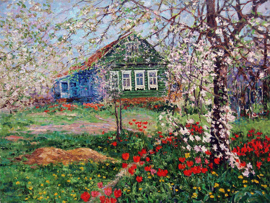 "Виктор Христанов ""Домик с окнами в сад. Петрово-Дальнее"" х,м 2011г."