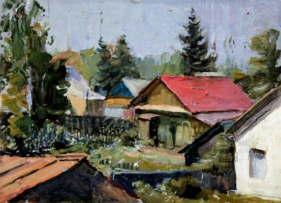 "Ефимкин Иван Петрович (1923-2013) ""Нахабино. Этюд"" к,м 1956г."