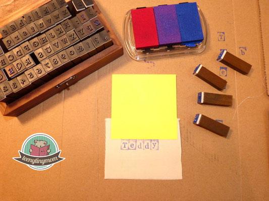 Stempel am Post-it anlegen und stempeln - wenn es waschbar sein soll mit Stofffarbe