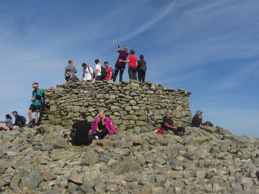 Crowds at the summit of Scafell Pike