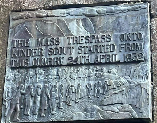 A sign marking the starting point of the Mass Trespass in 1932