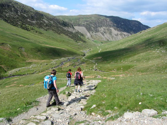 Descent towards Glenridding on Helvellyn guided walk