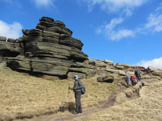 Walking past 'The Pagoda' on Kinder Scout