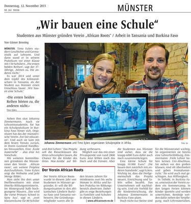 """Veröffentlicht im Lokalteil der """"Westfälischen Nachrichten"""" am 12.11.15"""
