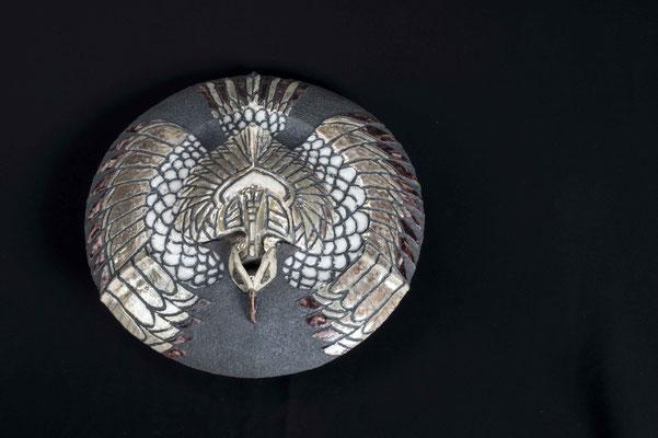 raku techniek decoratieve pot met deksel roofvogel decoratie € 275