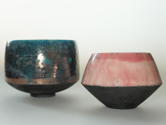 roze kom raku techniek, decoratief object € 30