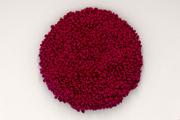 Barbara Reck-Irmler · Flower · 2017 · textile, wood · Ø 70 cm, T 10 cm