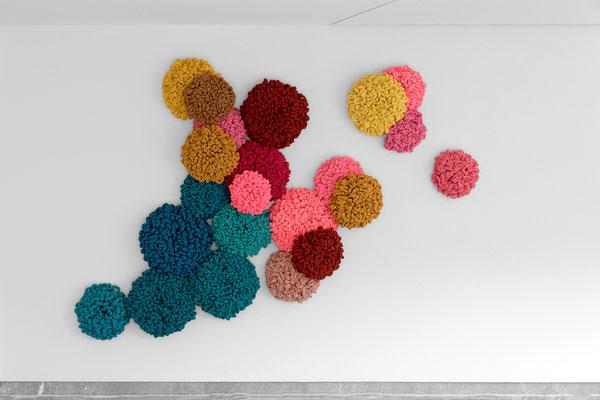 Barbara Reck-Irmler · Flowers, installation · 2019 · textile, wood