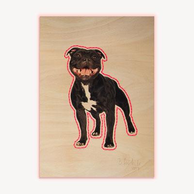 Barbara Reck-Irmler · Dog Nr. 2 · 2019 · c-print on plywood, textile yarn · 840 x 1188 mm