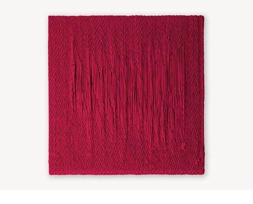 Barbara Reck-Irmler: Board 9 • 2017 • Textil, Schichtholz • 60 x 60 cm