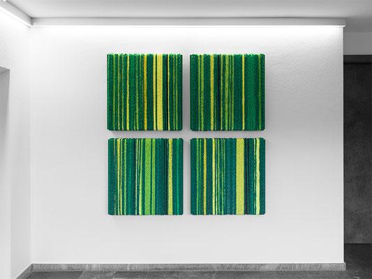 Barbara Reck-Irmler · BOX Nr. 22, 23, 24 und 25 · grün 2019, Textil, Holz, 4 Teile, je 70 x 72 x 9 cm