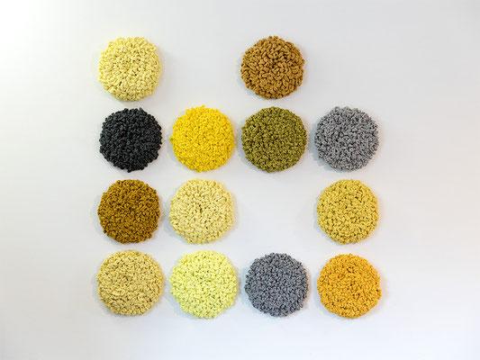 FLOWER Installation gelb-grau • 2018 • Textil, Schichtholz • 160 × 160 cm • Privatsammlung