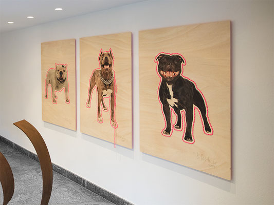 Barbara Reck-Irmler · Hund Nr. 3, Nr. 1, Nr. 2 · 2019 · C-Print auf Sperrholz, Textilgarn · je 840 x 1188 mm · Im Anschnitt: Loop von Sabine Straub