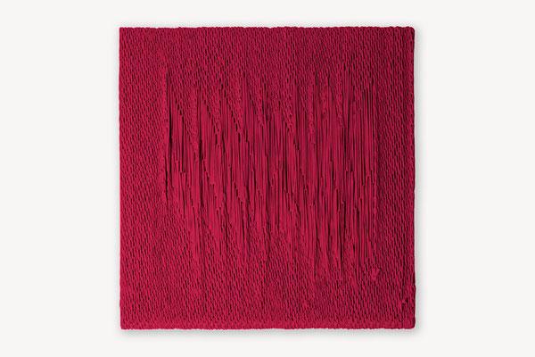 Barbara Reck-Irmler: Board 9 • 2017 • textile, wood  • 60 x 60 cm