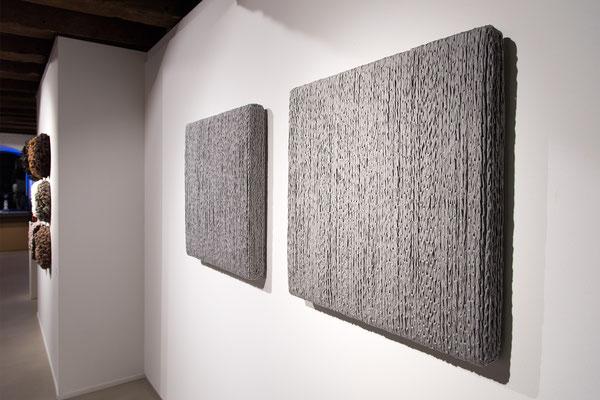 Barbara Reck-Irmler · BOX Nr. 06 und NR. 07 · 2018 · Textil, Schichtholz · je 72 x 72 x 10 cm