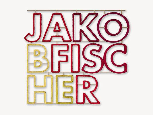 Barbara Reck-Irmler: JAKOBFISCHER • 2019 • Textil, Schichtholz • 101 x 91 x 2,5 cm