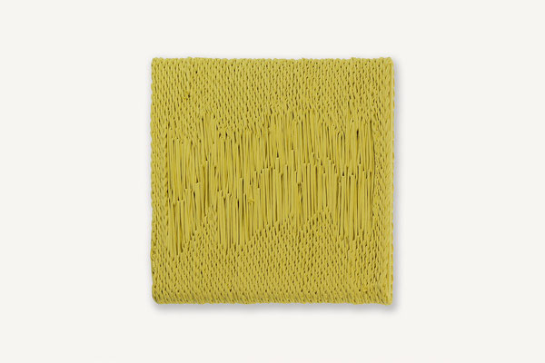 Barbara Reck-Irmler: Board 3 • 2017 • textile, wood  • 45 x 45 cm • private collection