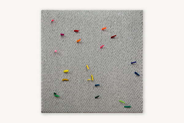 Barbara Reck-Irmler: Board 11 • 2018 • textile, wood  • 60 x 60 cm • private collection