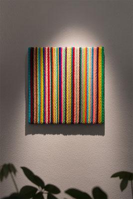 Barbara Reck-Irmler: BOARD Nr. 6 · 2017 · Textil, Sperrholz · 60 x 60 x 4 cm