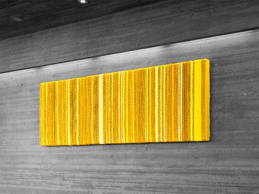 Barbara Reck-Irmler: BOX Nr. 15, 16 und 17 ocker/gelb • 2019 • Textil, Holz • je 70 x 72 x 9 cm