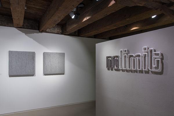 Barbara Reck-Irmler · BOX Nr. 06 und NR. 07 · 2018 · Textil, Schichtholz · je 72 x 72 x 10 cm + nolimit · 2019 · Textil, Schichtholz · 117 x 38 x 2,5 cm