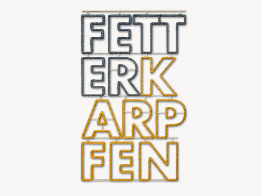 Barbara Reck-Irmler: FETTER KARPFEN • 2018 • Textil, Schichtholz • 75 × 121 cm