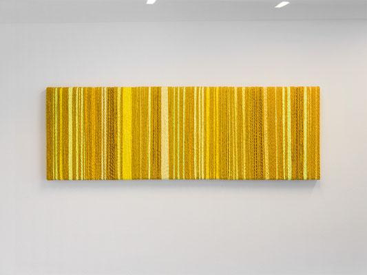 Barbara Reck-Irmler · BOX Nr. 15, 16 und 17 · gelb 2019, Textil, Holz, 3 Teile, je 70 x 72 x 9 cm