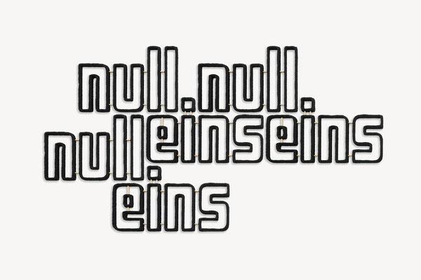 Barbara Reck-Irmler · null null eins eins null eins · 2020 · Textil, Schichtholz, 8 Teile · 195 x 107 x 2,5 cm