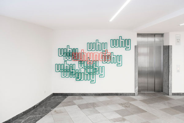 Barbara Reck-Irmler · why why ... why not, installation · 2019 · textile, plywood, metal bars · 160 x 255 x 15 cm