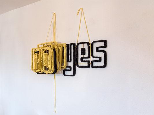 Barbara Reck-Irmler · no no no ... yes, Installation · 2017-2019 · Textil, Schichtholz, 11 Teile · Roter Kunstsalon im Museum Villa Rot • Privatsammlung