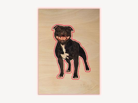 Barbara Reck-Irmler: Hund Nr. 2 · 2019 · C-Print auf Sperrholz, Textilgarn · 840 x 1188 mm