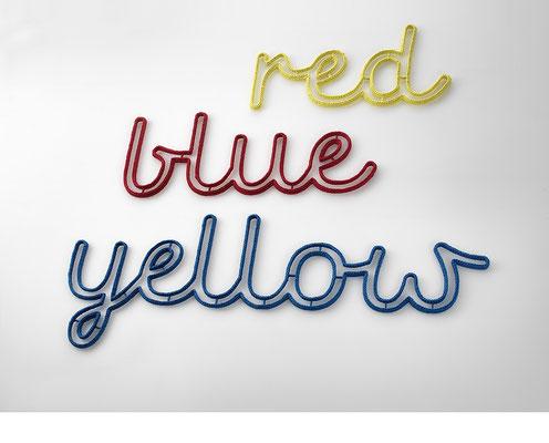 redblueyellow • 2015 • Textil, Schichtholz • 88 x 44 / 112 x 44 / 176 x 68 cm