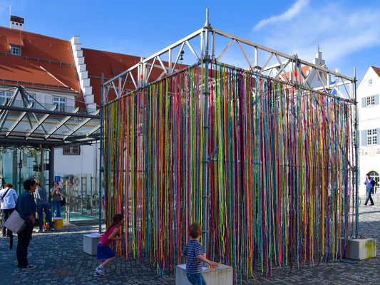 Barbara Reck-Irmler: FLOWING CUBE • 2017 • textile, steel • 4 x 4 x 4 m